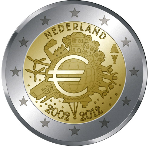 Image of 2 euro coin – Ten years of Euro  | Netherlands 2012
