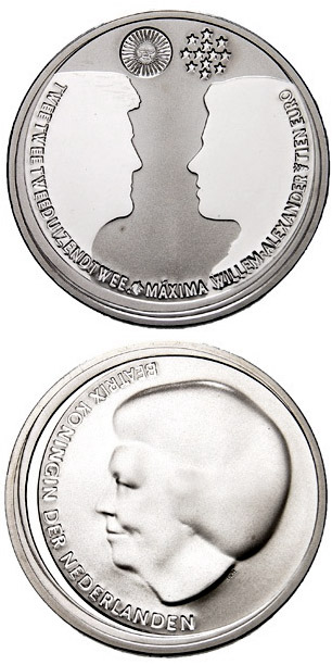 Image of a coin 10 euro | Netherlands | Wedding of the Crown Prince  | 2002