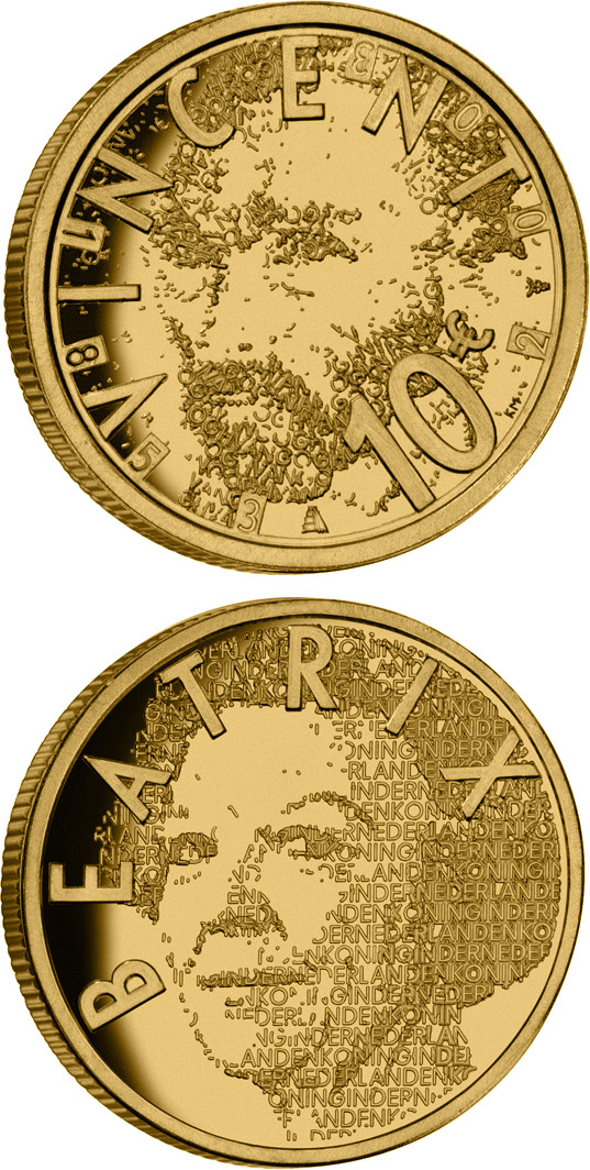 Image of 10 euro coin – 150th birthday of Vincent van Gogh  | Netherlands 2003.  The Gold coin is of Proof quality.