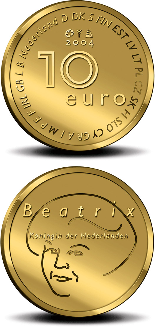 Image of a coin 10 euro | Netherlands | EU Presidency - Enlargement of the European Union  | 2004