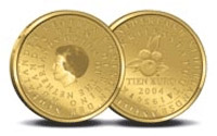 Image of 10 euro coin - 50 years Statute of the Kingdom of Netherlands  | Netherlands 2004.  The Gold coin is of Proof quality.