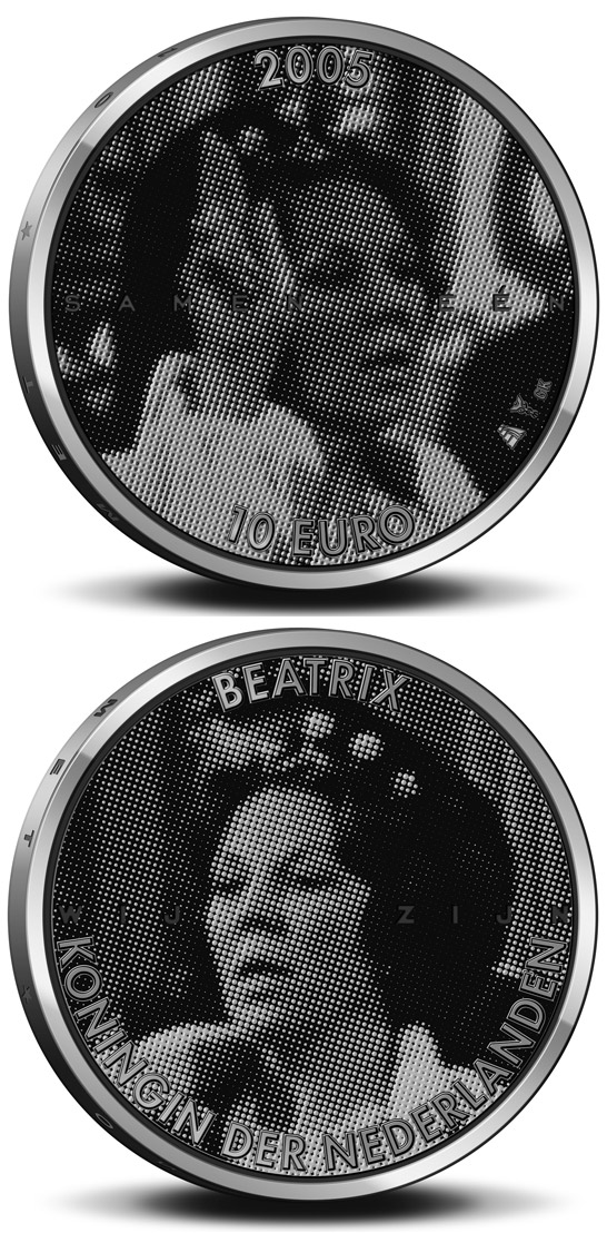 Image of 10 euro coin - 25. Anniversary of the accession to the throne by Queen Beatrix  | Netherlands 2004.  The Silver coin is of Proof, UNC quality.