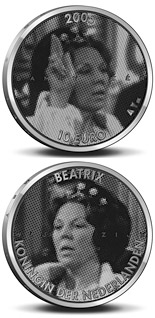 10 euro coin 25. Anniversary of the accession to the throne by Queen Beatrix  | Netherlands 2004