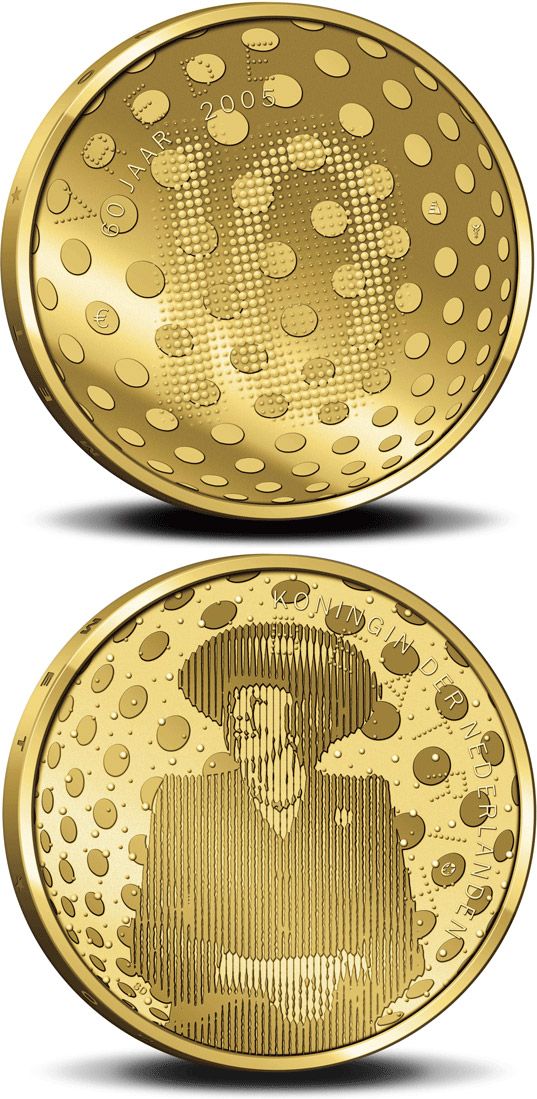 Image of a coin 10 euro | Netherlands | 60 years Peace and Freedom  | 2005