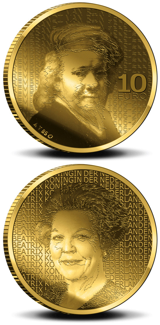 Image of a coin 10 euro | Netherlands | 400. birthday of Rembrandt Harmenszoon van Rijn  | 2006