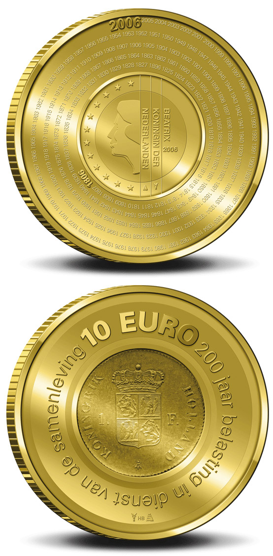 Image of 10 euro coin - 200 years Dutch Financial Office  | Netherlands 2006.  The Gold coin is of Proof quality.