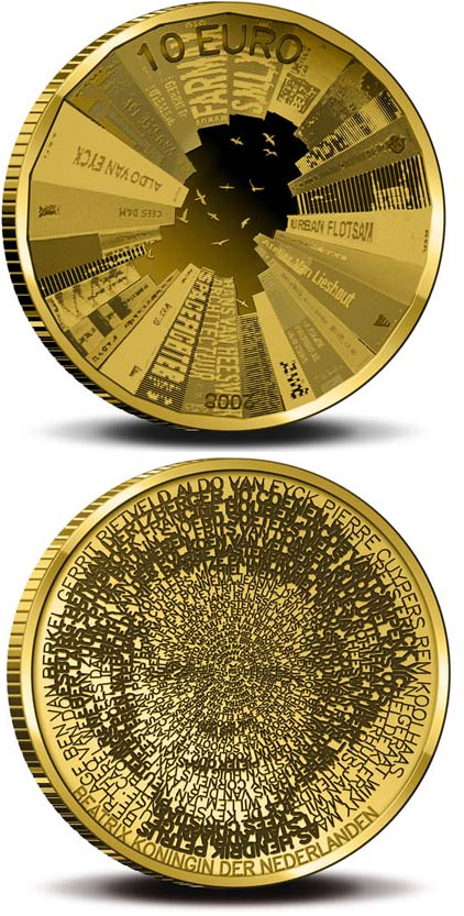 Image of 10 euro coin - Architecture in Netherlands  | Netherlands 2008.  The Gold coin is of Proof quality.