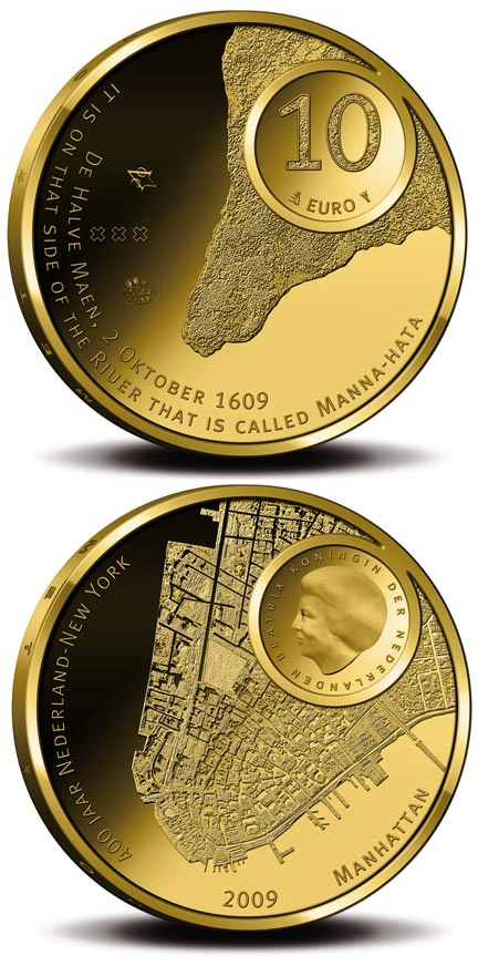 Image of a coin 10 euro | Netherlands | Manhattan 400 Years | 2009