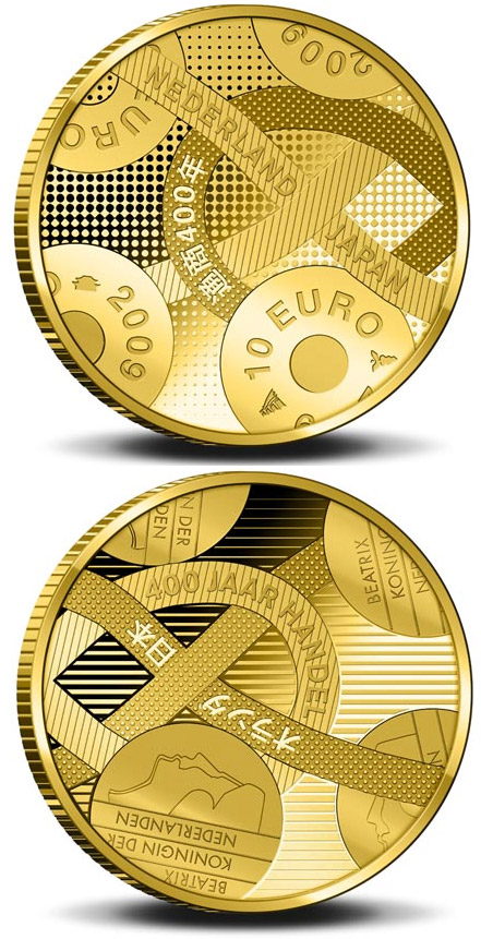 Image of 10 euro coin - 400 years Trade relations with Japan  | Netherlands 2009.  The Gold coin is of Proof quality.