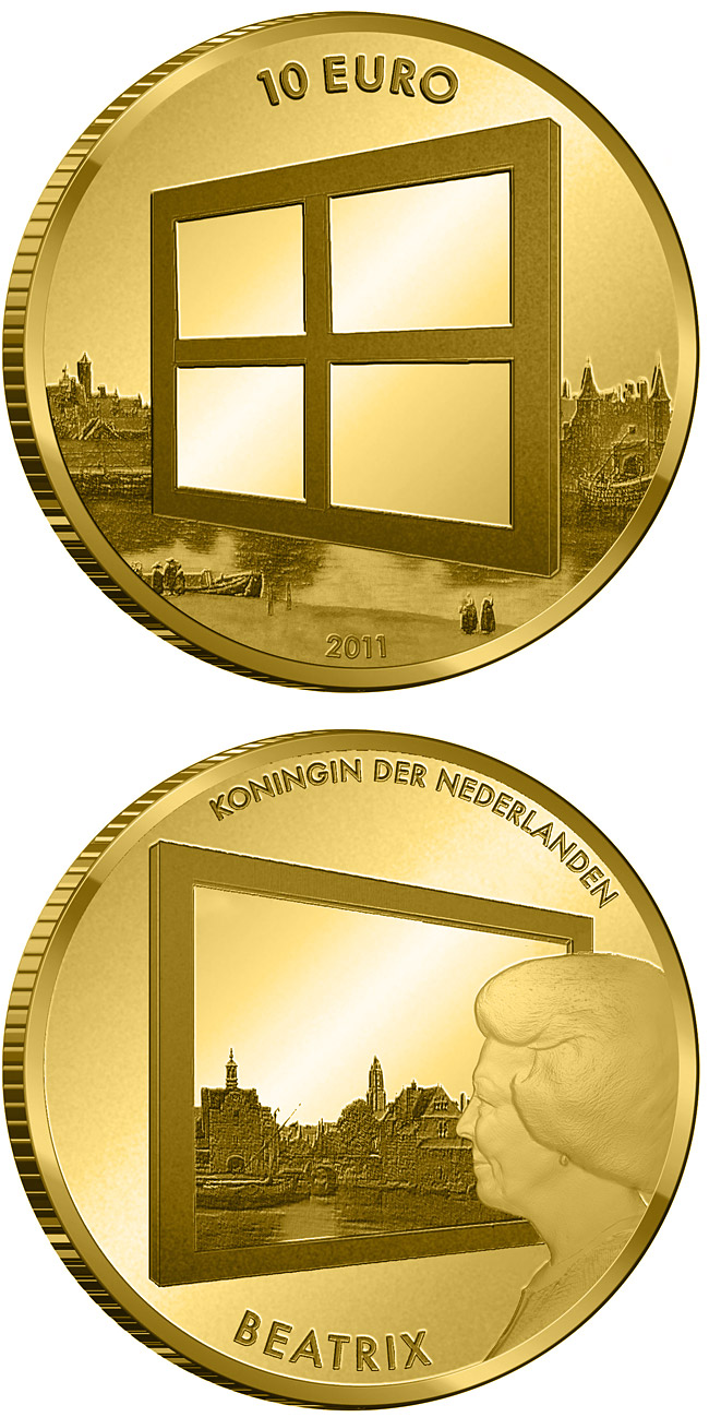 Image of Dutch Painting – 10 euro coin Netherlands 2011.  The Gold coin is of Proof quality.