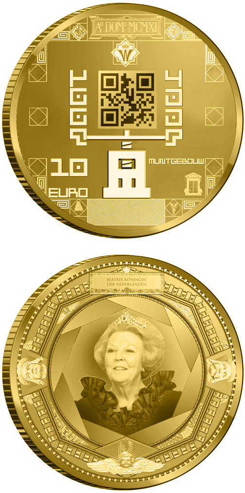 Image of 10 euro coin - 100 year Muntgebouw | Netherlands 2011.  The Gold coin is of Proof quality.