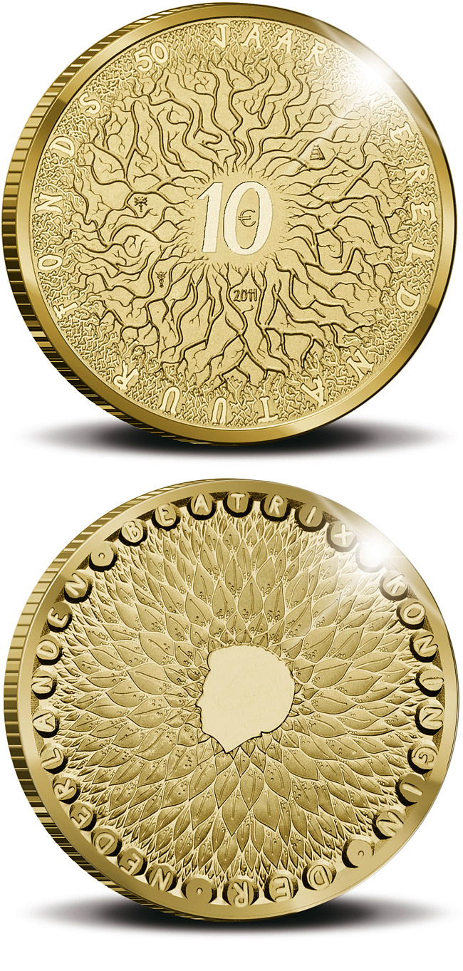 Image of 10 euro coin – 50th Anniversary of the World Wildlife Fund (WWF)  | Netherlands 2011.  The Gold coin is of Proof quality.