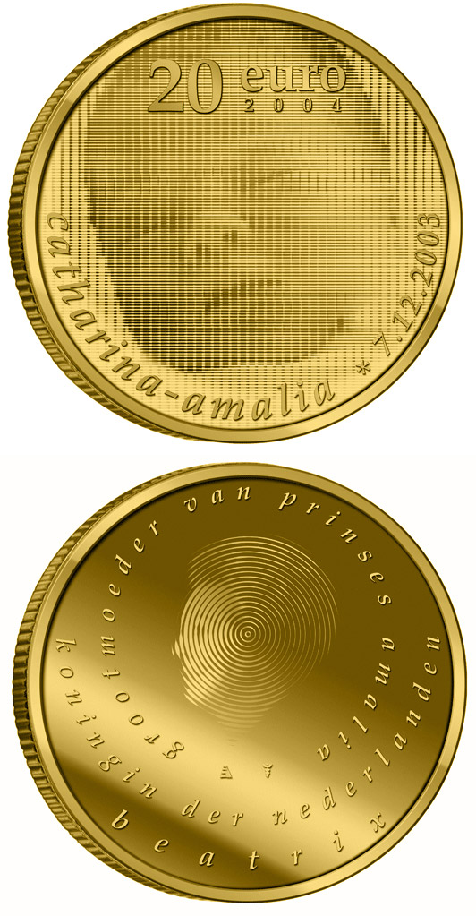 Image of Birth of Princess Catharina Amalia  – 20 euro coin Netherlands 2004.  The Gold coin is of Proof quality.