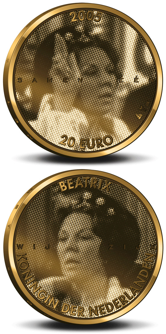 Image of 20 euro coin - 25. Anniversary of the accession to the throne by Queen Beatrix  | Netherlands 2005.  The Gold coin is of Proof quality.