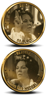 50 euro coin 25. Anniversary of the accession to the throne by Queen Beatrix  | Netherlands 2005