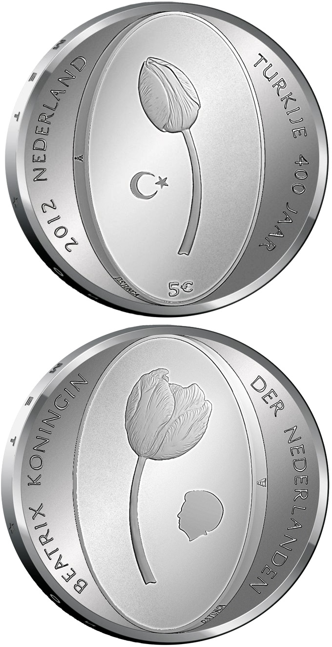 5 euro 400 years of the diplomatic relations between the Netherlands and the Turkey - 2012 - Series: Silver 5 euro coins - Netherlands