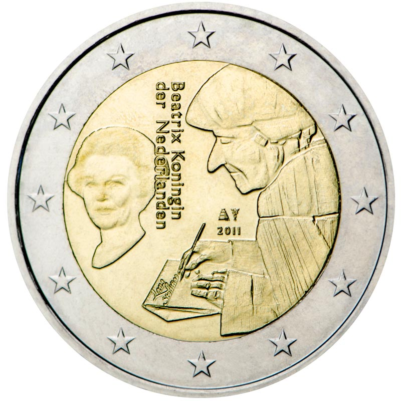 Image of 2 euro coin – The 500th anniversary of the publication of the world-famous book Laus Stultitiae by Desiderus Erasmus | Netherlands 2011