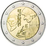 2 euro coin The 500th anniversary of the publication of the world-famous book Laus Stultitiae by Desiderus Erasmus | Netherlands 2011