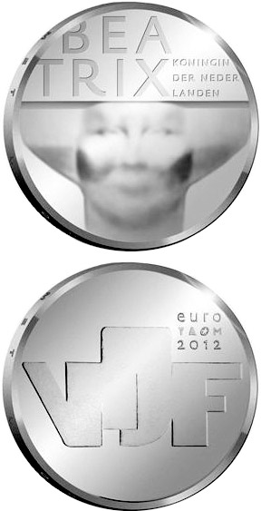 Image of 5 euro coin – Sculpture | Netherlands 2012.  The Silver coin is of Proof, UNC quality.
