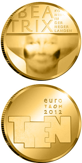 Image of 10 euro coin – Sculpture | Netherlands 2012.  The Silver coin is of Proof quality.