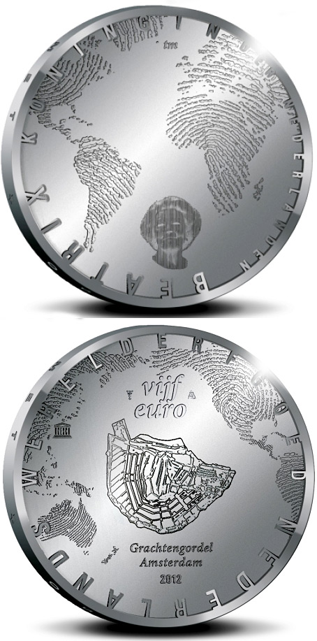 Image of 5 euro coin - 400 years of the Amsterdam Grachtengordel | Netherlands 2012.  The Silver coin is of Proof, UNC quality.
