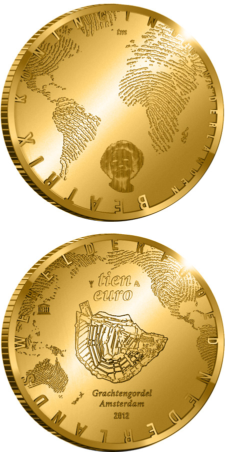 Image of 400 years of the Amsterdam Grachtengordel – 10 euro coin Netherlands 2012.  The Gold coin is of Proof quality.