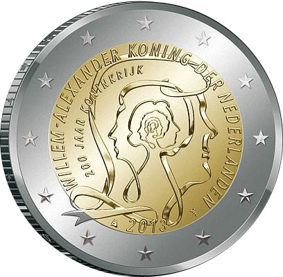 Image of 2 euro coin - 200 Years of Kingdom | Netherlands 2013