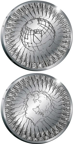 Image of 5 euro coin - 300 years of the Treaty of Utrecht | Netherlands 2013.  The Silver coin is of Proof, UNC quality.