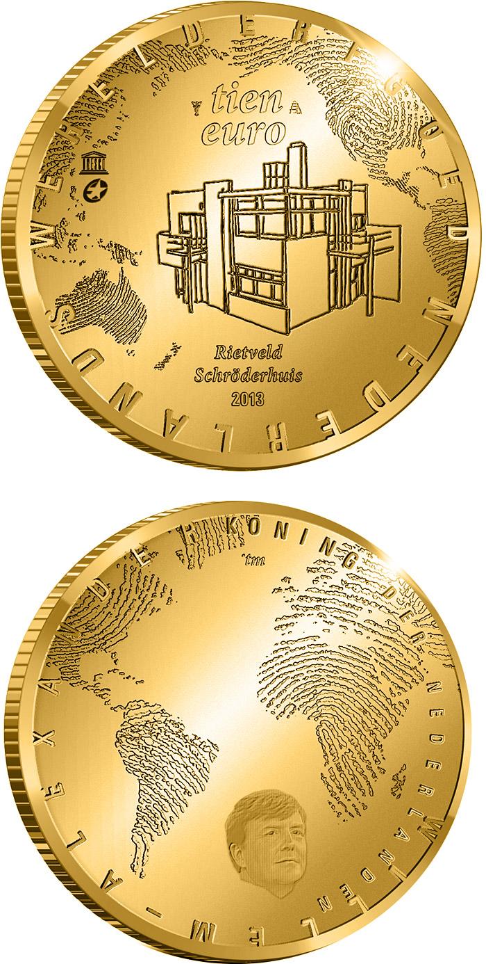 Image of 10 euro coin - The Rietveld Five Euro | Netherlands 2013.  The Gold coin is of Proof quality.