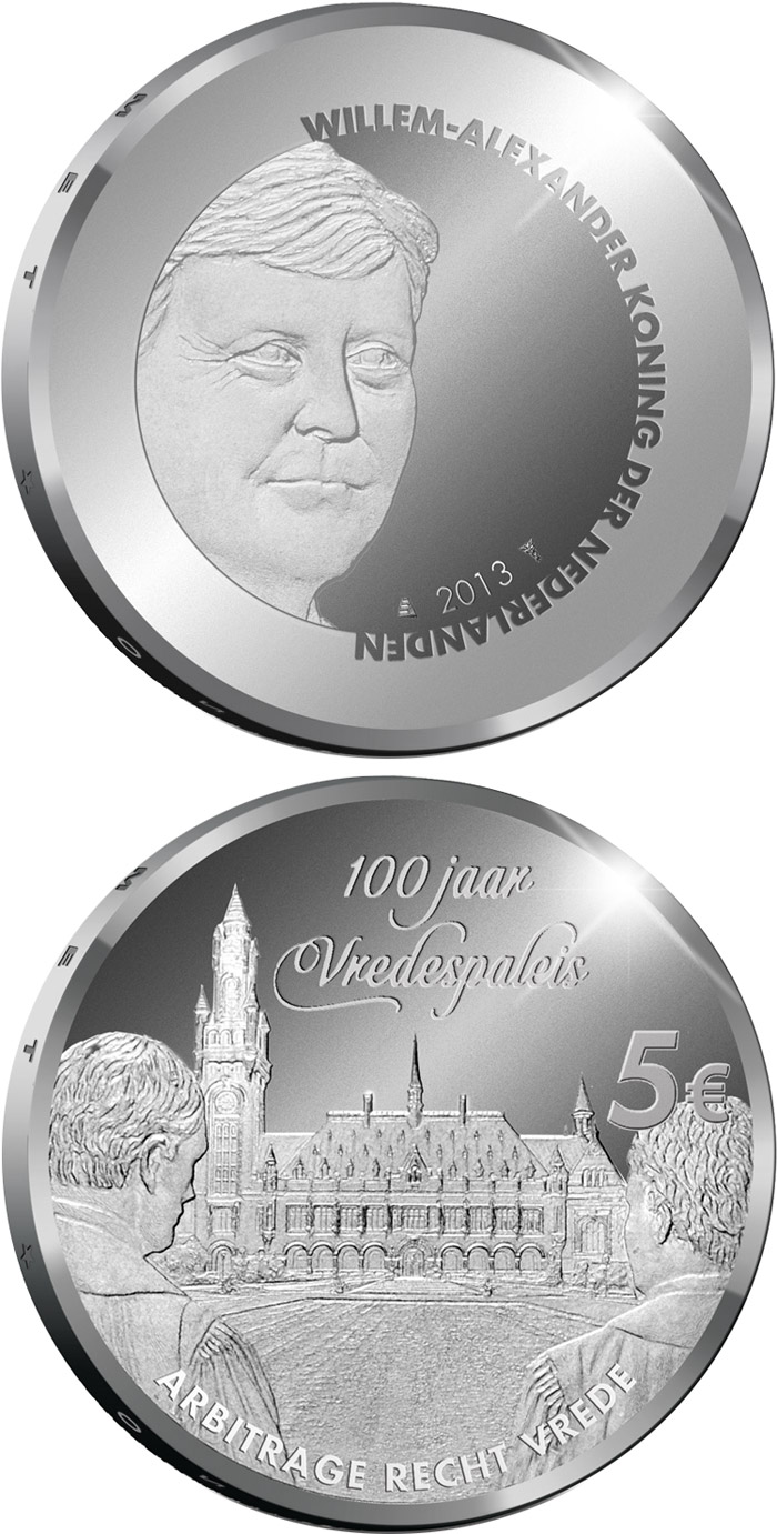 Image of 5 euro coin - Peace Palace 100 Years | Netherlands 2013.  The Silver coin is of Proof, UNC quality.