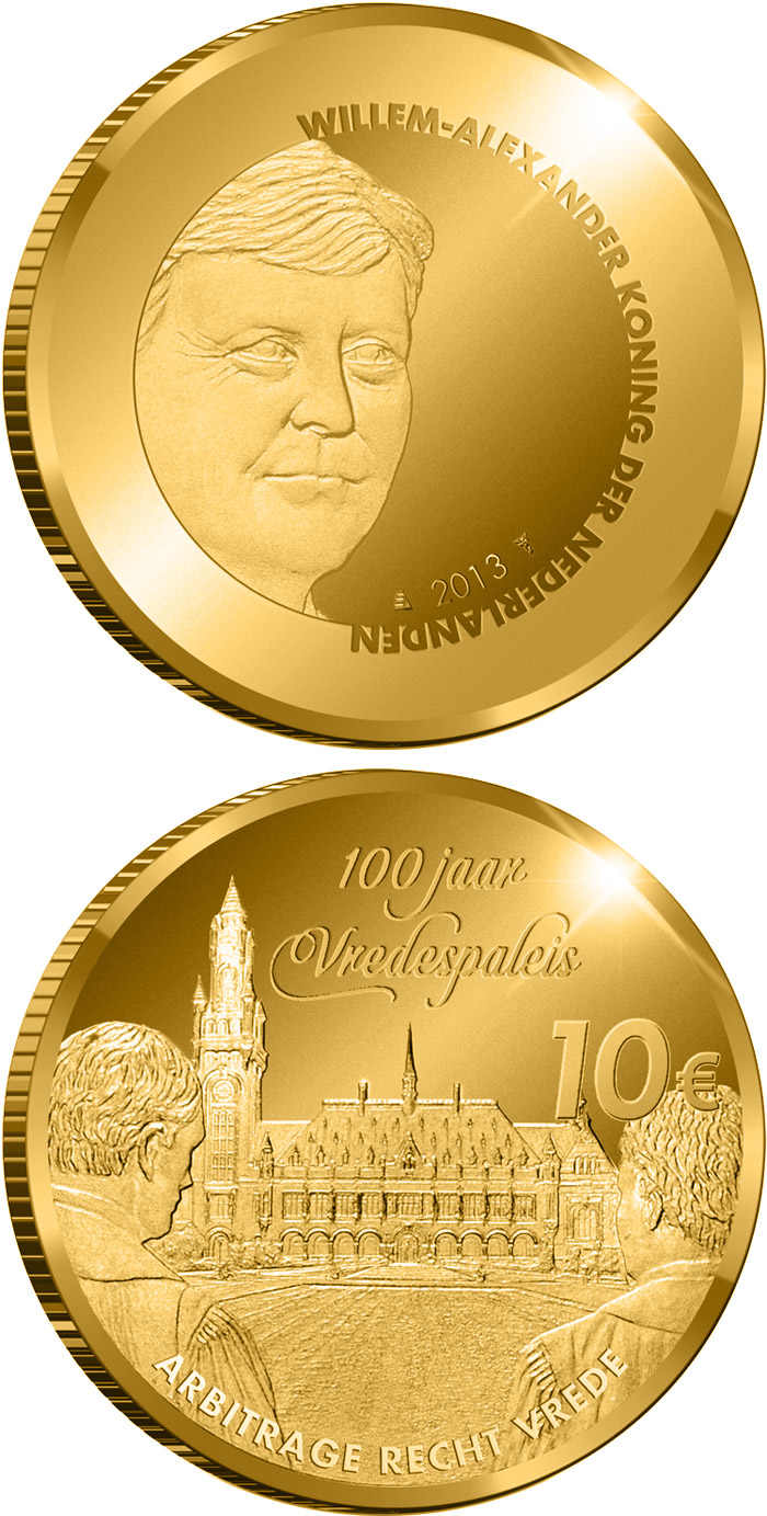 Image of 10 euro coin - Peace Palace 100 Years | Netherlands 2013.  The Gold coin is of Proof quality.