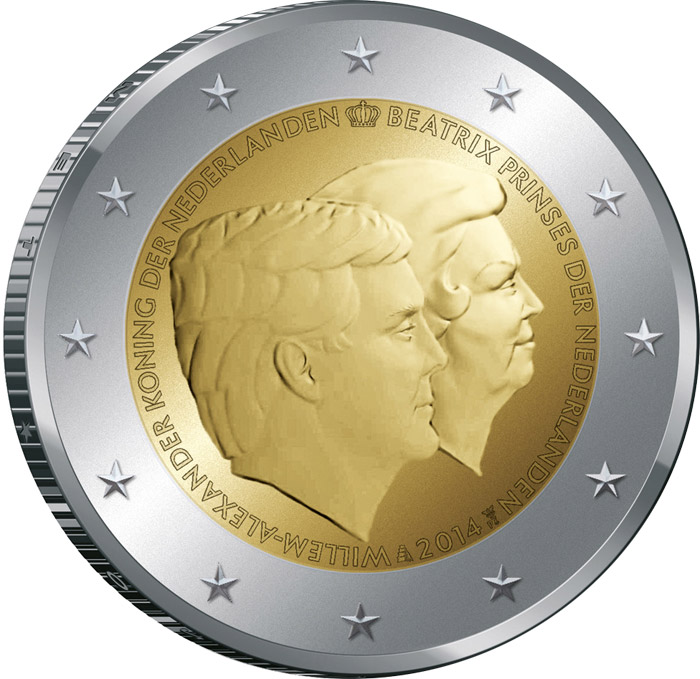 Image of 2 euro coin – The Double Portrait 2014 | Netherlands 2014