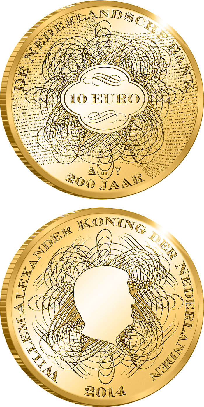 Image of 10 euro coin - De Nederlandsche Bank | Netherlands 2014.  The Gold coin is of Proof quality.