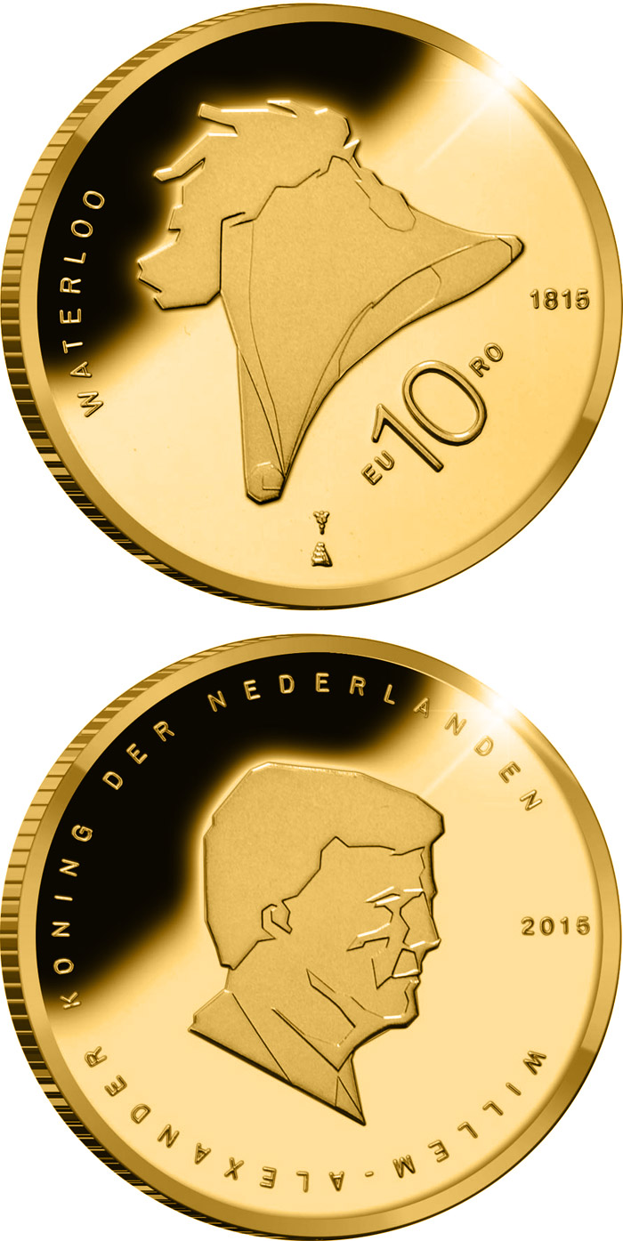 Image of 10 euro coin 200th Anniversary of the Battle of Waterloo | Netherlands 2015.  The Gold coin is of Proof quality.