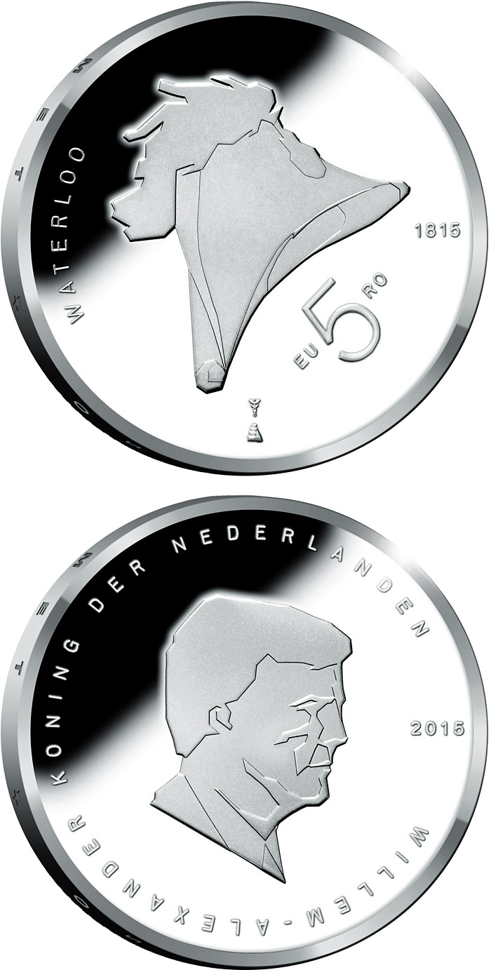 Image of a coin 5 euro | Netherlands | 200th Anniversary of the Battle of Waterloo | 2015
