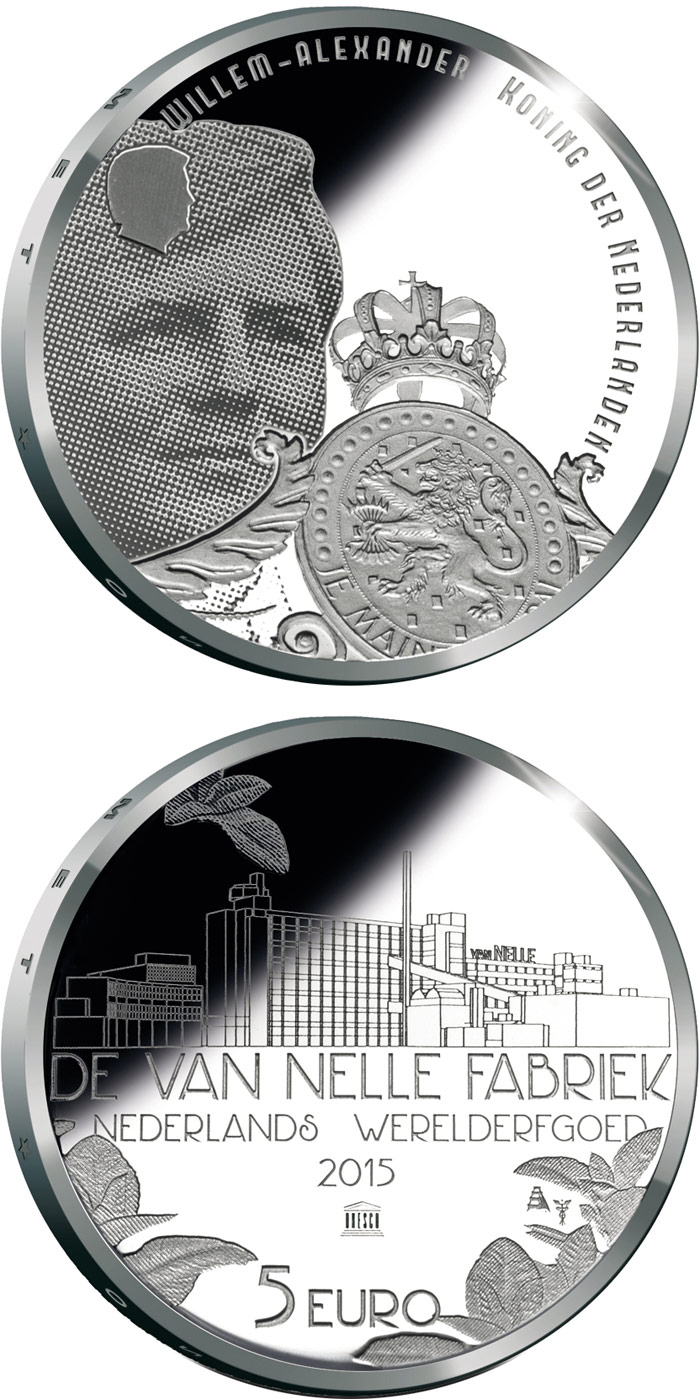 Image of Van-Nelle-Fabrik – 5 euro coin Netherlands 2015.  The Silver coin is of Proof, UNC quality.