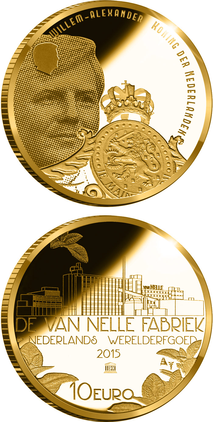 Image of 10 euro coin - Van-Nelle-Fabrik | Netherlands 2015.  The Gold coin is of Proof quality.