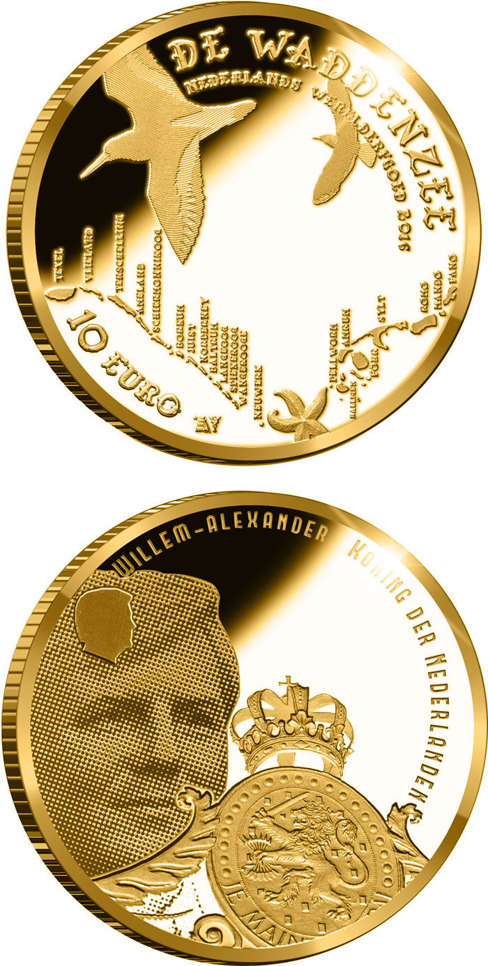 Image of 10 euro coin - Wadden Vijfje | Netherlands 2016.  The Gold coin is of Proof quality.