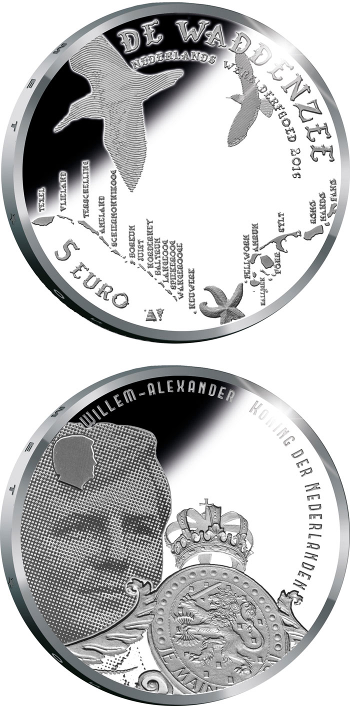 Image of 5 euro coin - Wadden Vijfje | Netherlands 2016.  The Silver coin is of Proof, UNC quality.