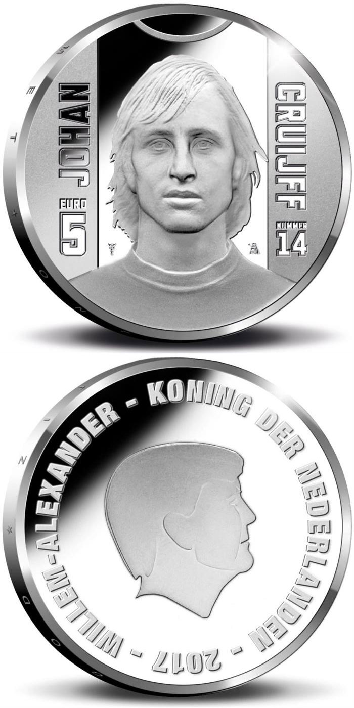 Image of 5 euro coin - Sports Icons: Johan Cruyff | Netherlands 2017.  The Silver coin is of Proof, UNC quality.