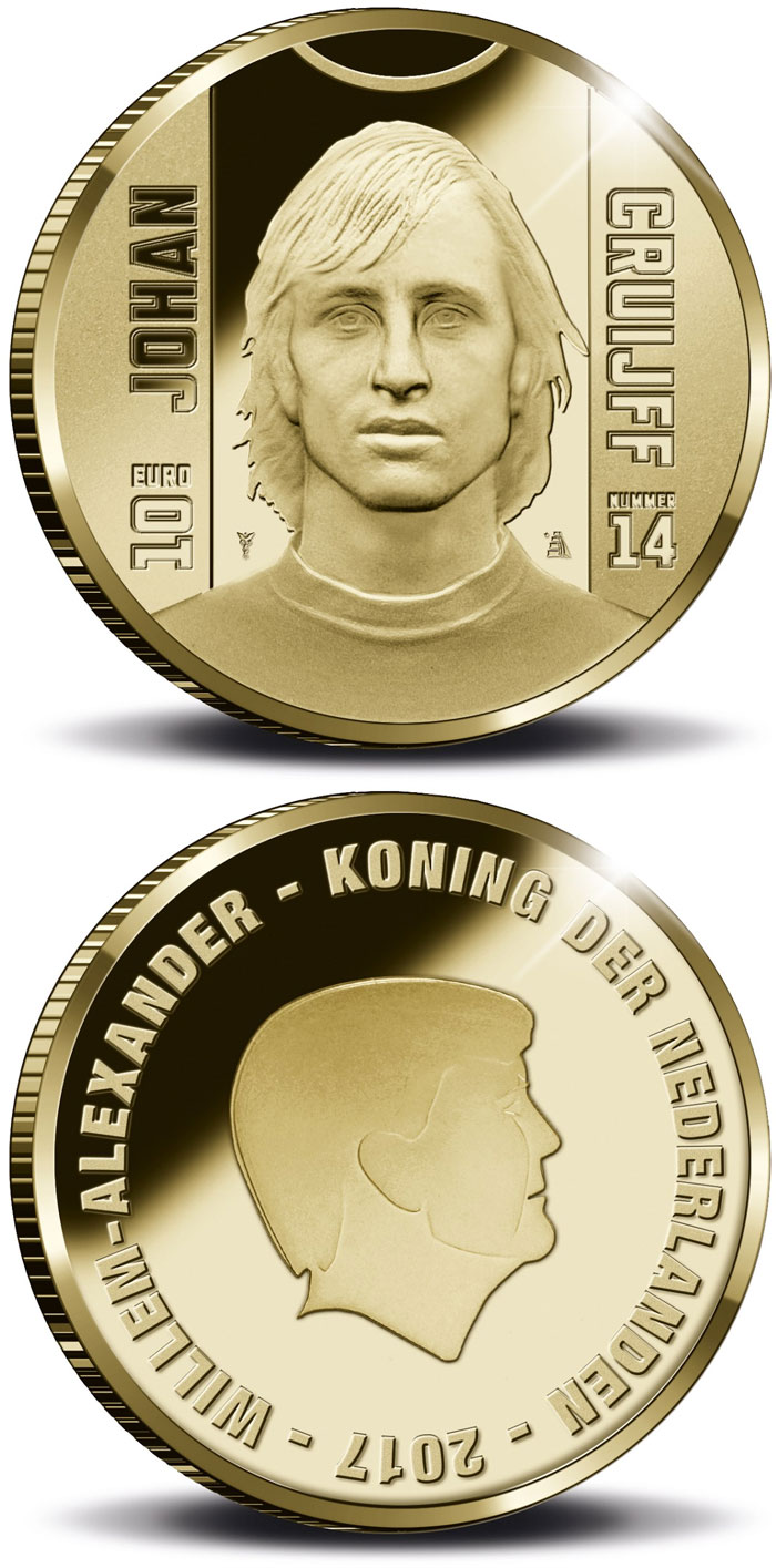 Image of 10 euro coin - Sports Icons: Johan Cruyff | Netherlands 2017.  The Gold coin is of Proof quality.