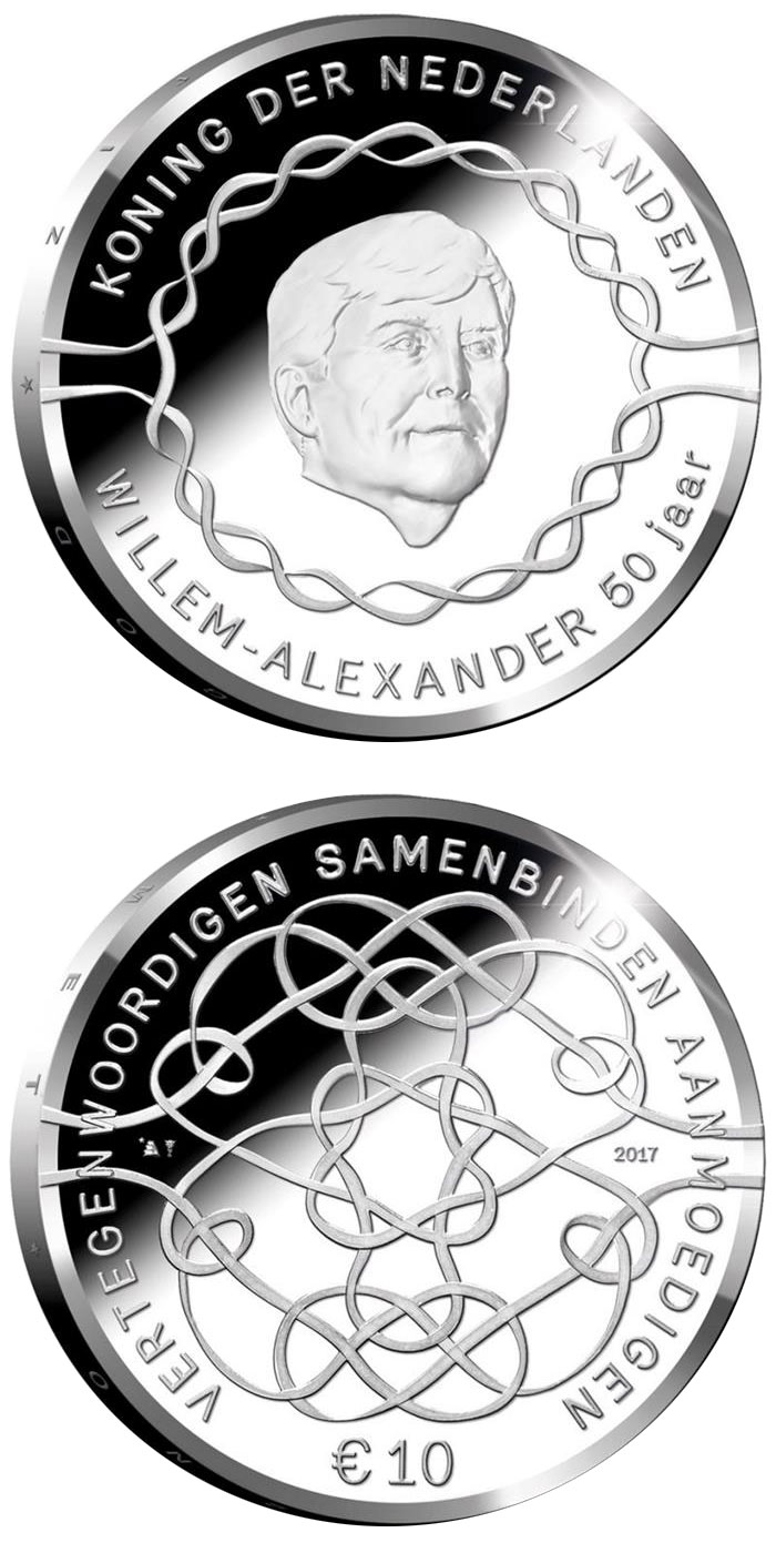 Image of 10 euro coin - King Willem-Alexander 50 Years | Netherlands 2017.  The Silver coin is of Proof quality.