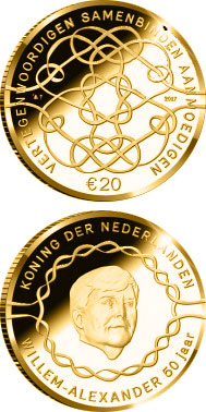 Image of 20 euro coin - King Willem-Alexander 50 Years | Netherlands 2017.  The Gold coin is of Proof quality.