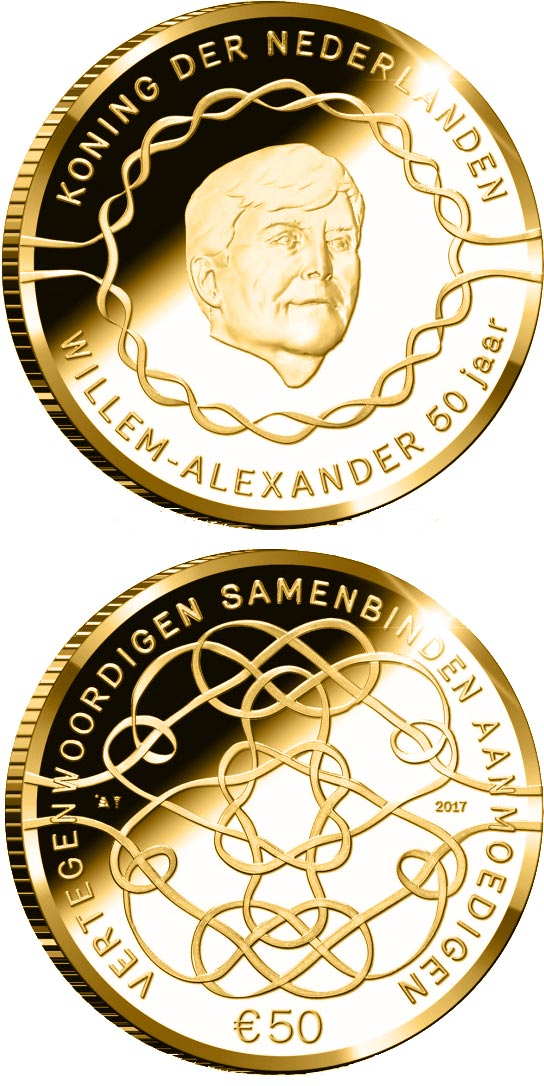 Image of 50 euro coin - King Willem-Alexander 50 Years | Netherlands 2017.  The Gold coin is of Proof quality.