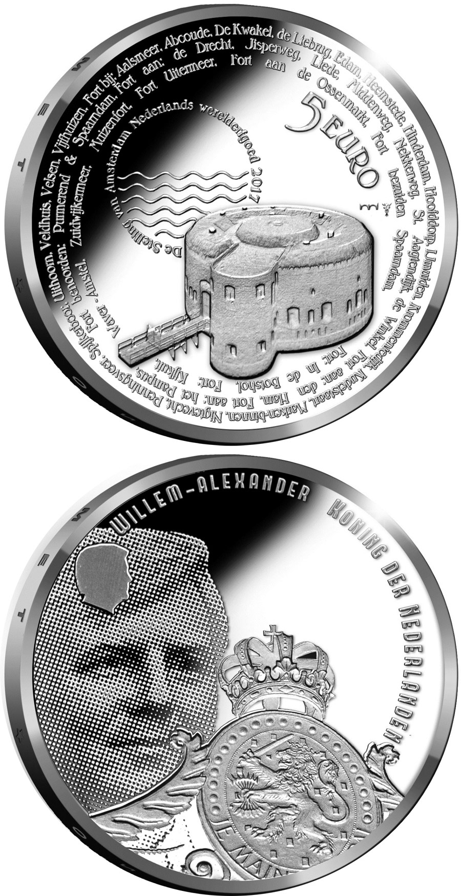 Image of 5 euro coin - Stelling van Amsterdam | Netherlands 2017.  The Silver coin is of Proof, UNC quality.