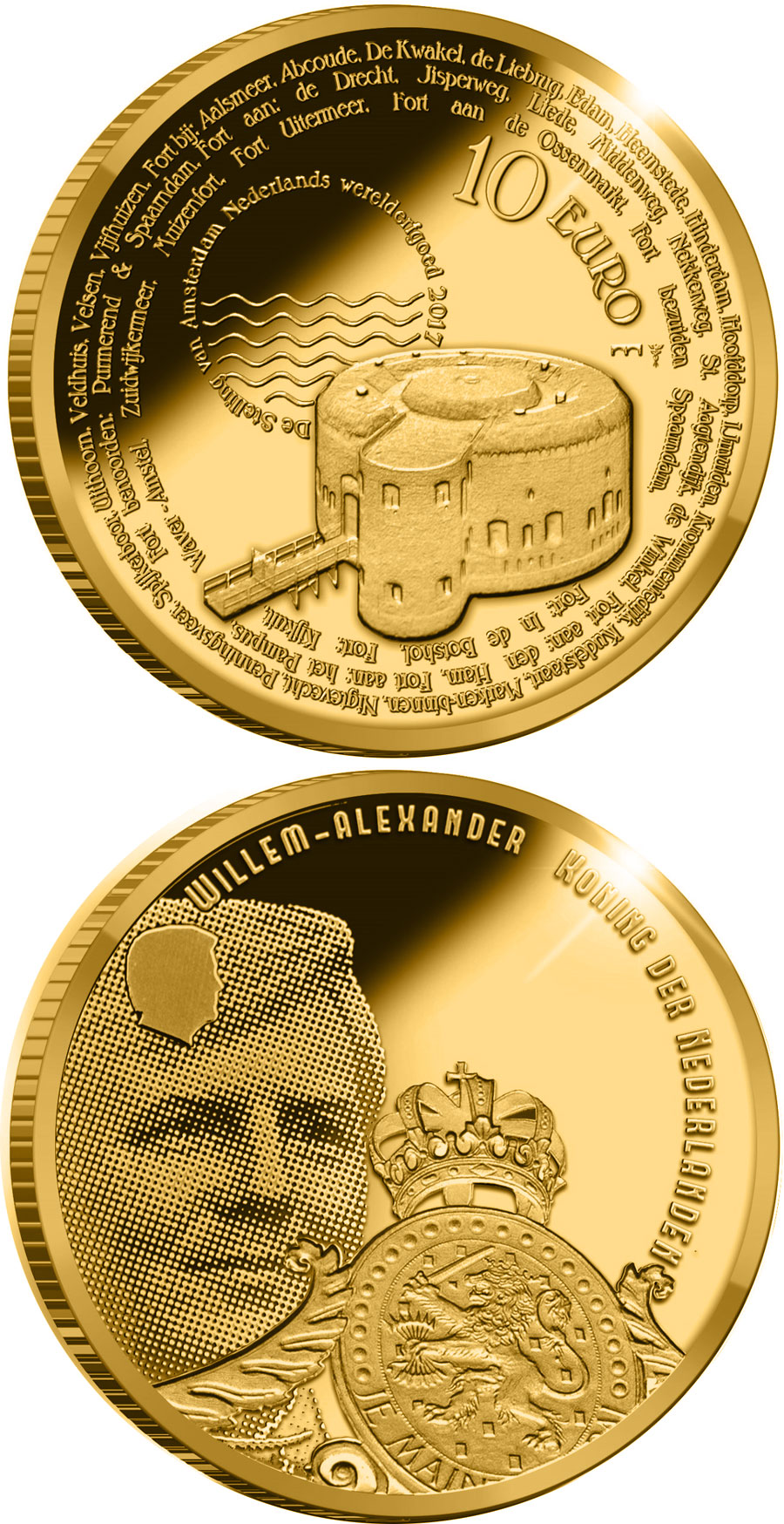 Gold 10 euro coins. The 10 euro coin series from Netherlands