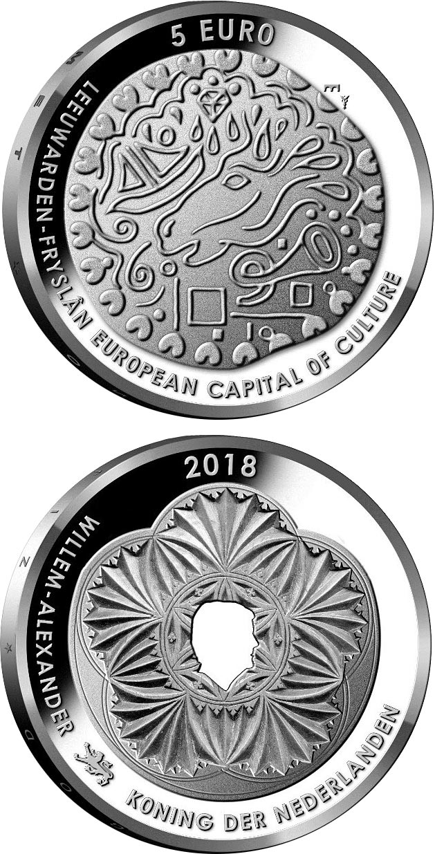 Image of 5 euro coin - Leeuwarden | Netherlands 2018.  The Silver coin is of Proof, UNC quality.