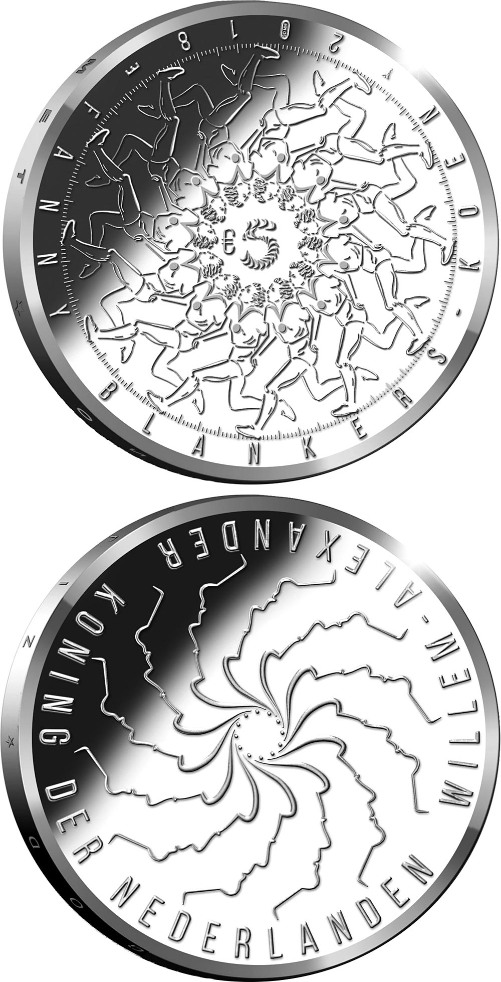 Image of 5 euro coin Fanny Blankers Koen | Netherlands 2018.  The Silver coin is of Proof, UNC quality.