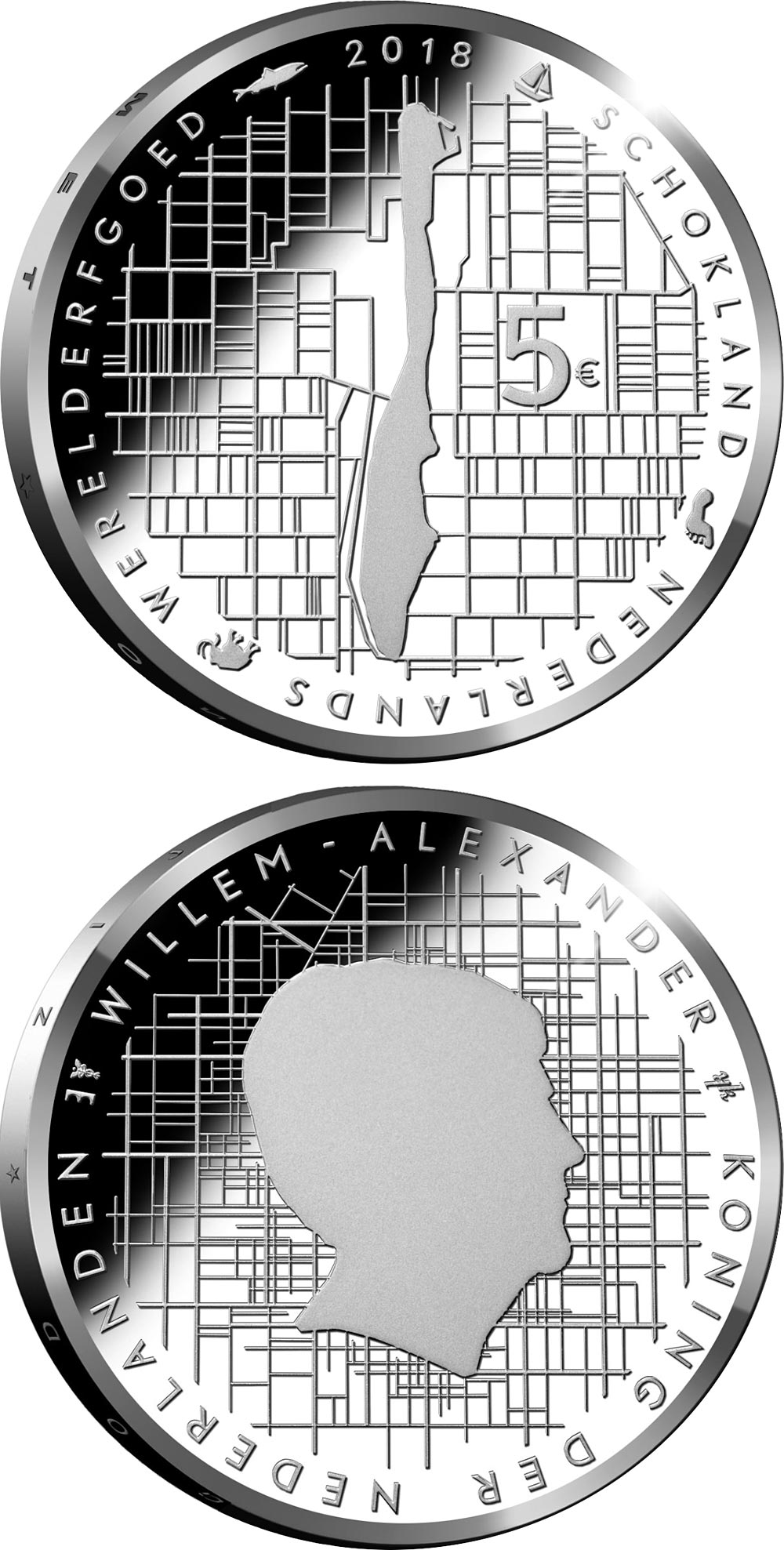 Image of 5 euro coin - Schokland | Netherlands 2018.  The Silver coin is of Proof, UNC quality.