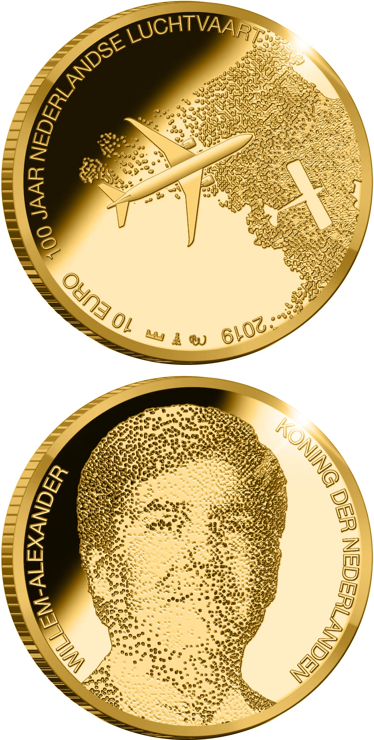 Image of 10 euro coin - 100 years of aviation in the Netherlands | Netherlands 2019.  The Gold coin is of Proof quality.